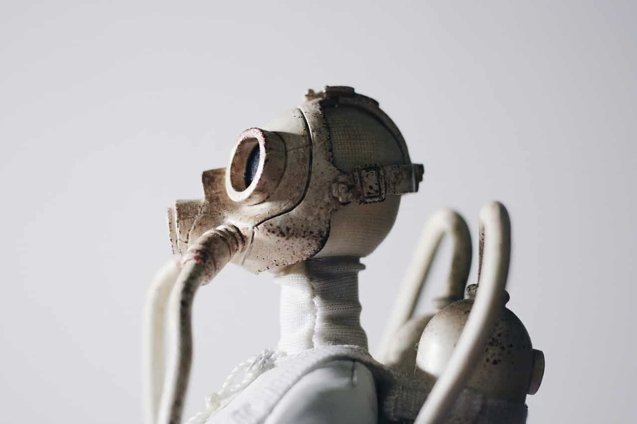 Statua - Zagađen vazduh, maska i respirator